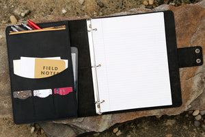 All black handmade leather business folio binder