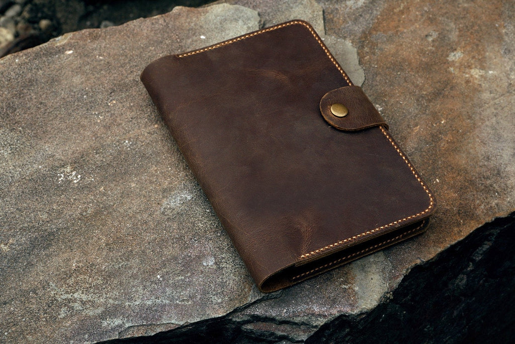 Personalized leather moleskine cover with pen holder