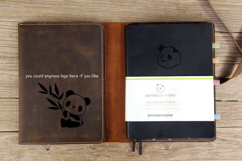 Rustic leather cover case for Panda Planner Pro 8.5 x 11 inch