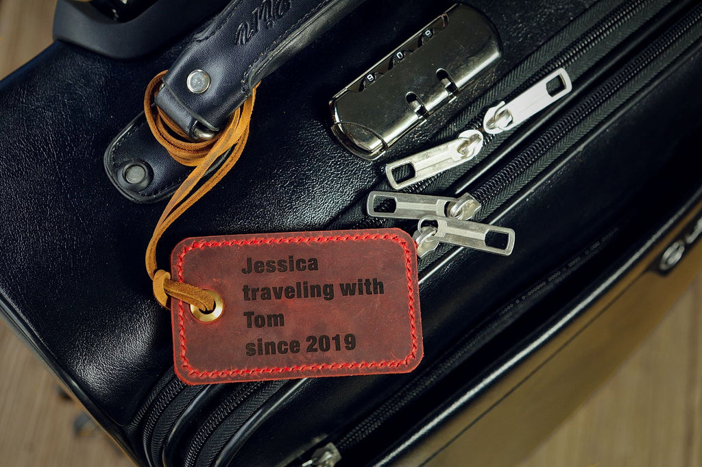 Personalized engraved luggage tags custom leather luggage tags