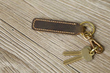 Personalized Brown mens leather keychain / distressed leather motorcycle key tag