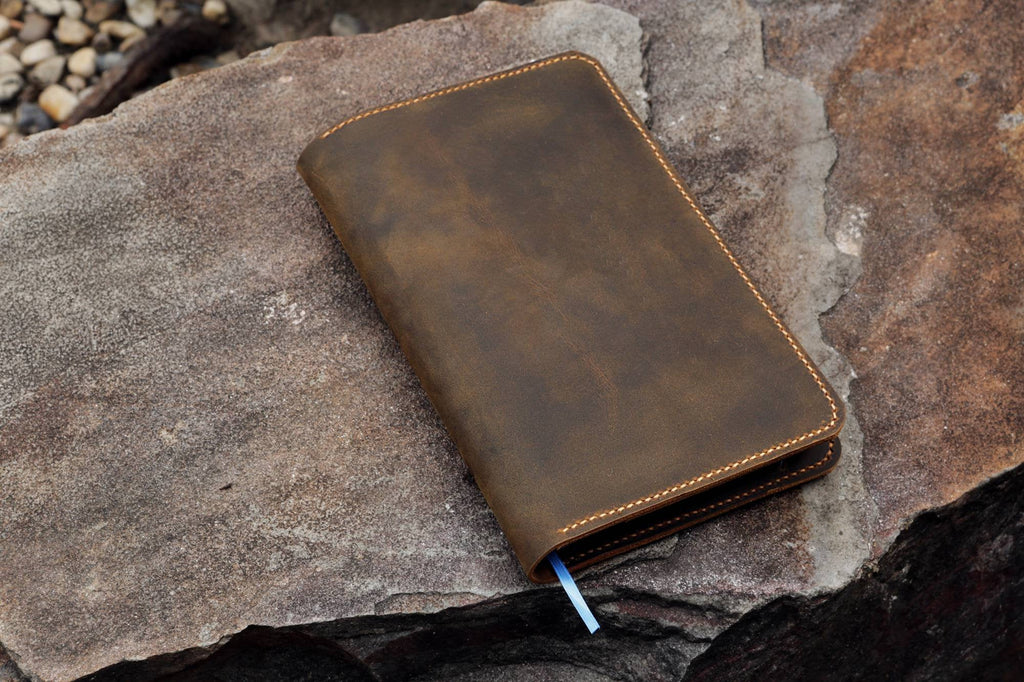 Personalized distressed leather cover for minimalism art notebook