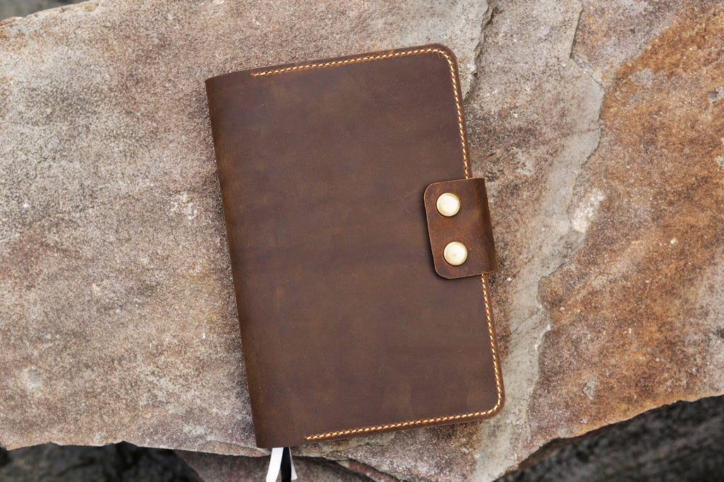 Personalized rustic leather Panda Daily Planner cover case 5 x 8.25 inch