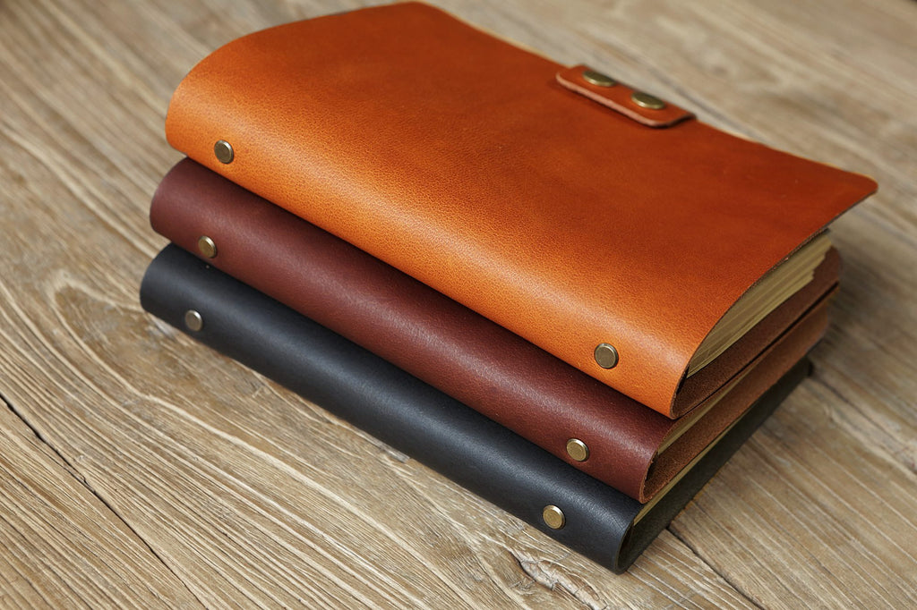 vegetable tanned leather A5 binder journal planner