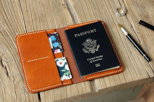 Designer vegetable tanned leather passport cover