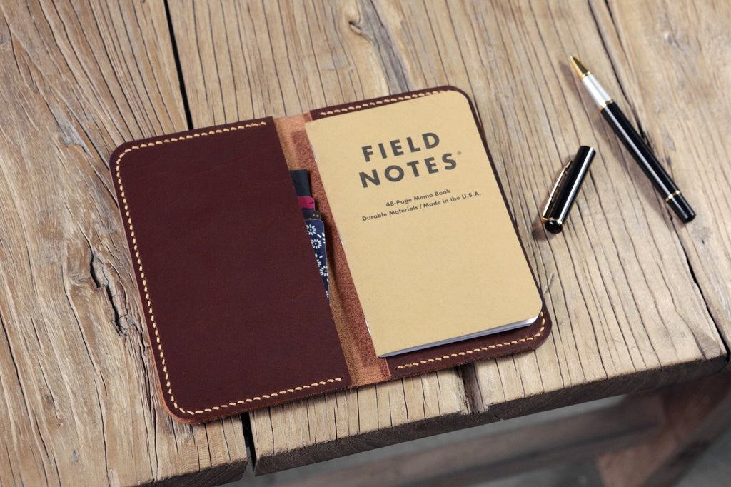 Brown Black vegetable tanned leather cover for field notebook