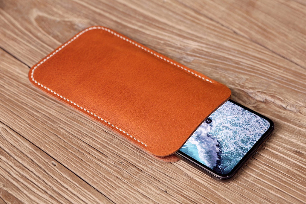 black brown leather iPhone X XR XS Max phone pouch