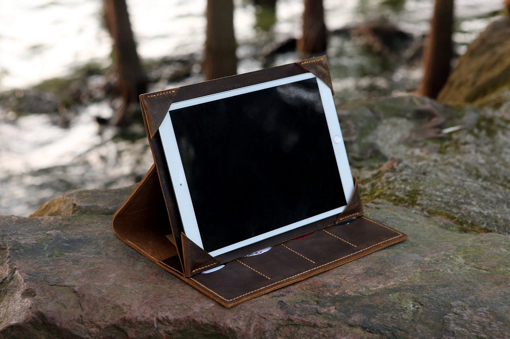 Rugged leather iPad portfolio case with stand for new iPad Air