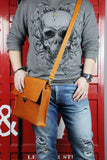 Personalized brown black vegetable tanned leather briefcase shoulder bag