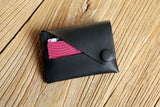 All black leather front wallet for men