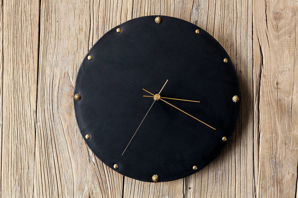 Vegetable tanned leather unique brown black wall clock