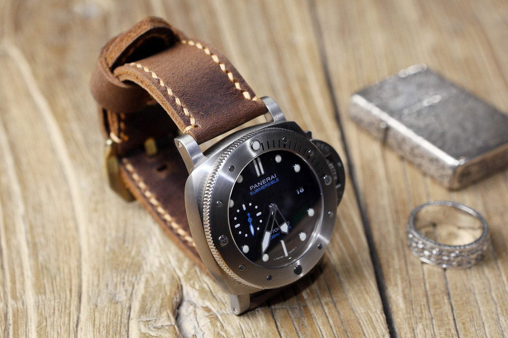 rustic brown leather band for Panerai watch ,custom watch band