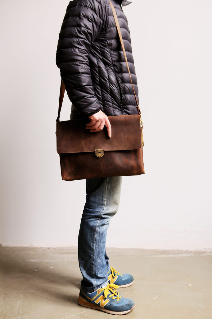 Full grain leather laptop computer bag
