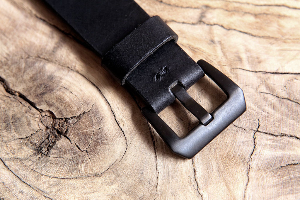 Black leather apple iPhone watch band strap