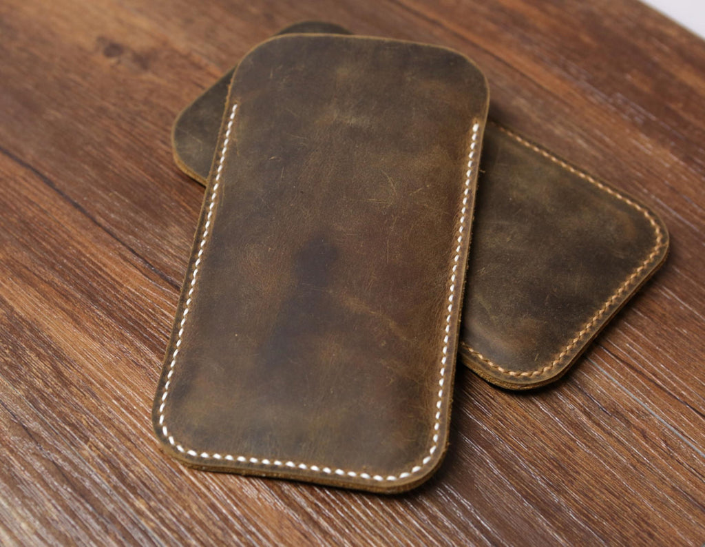 Distressed Brown leather iPhone 11 Pro Max sleeve / iPhone X XR XS leather cover