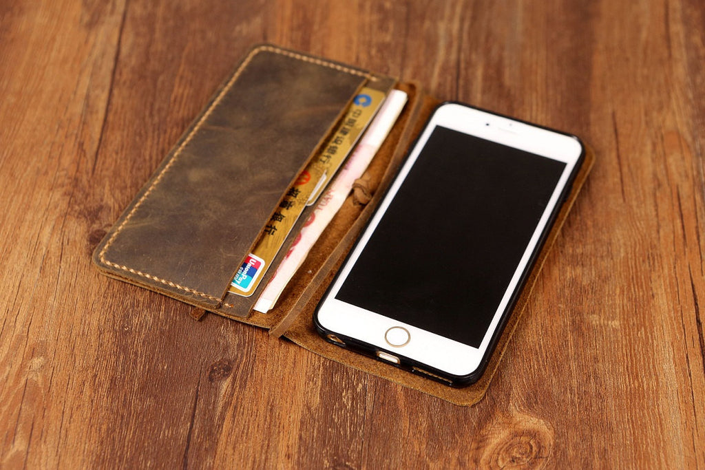 Personalized leather iPhone 11 Pro Max wallet Case