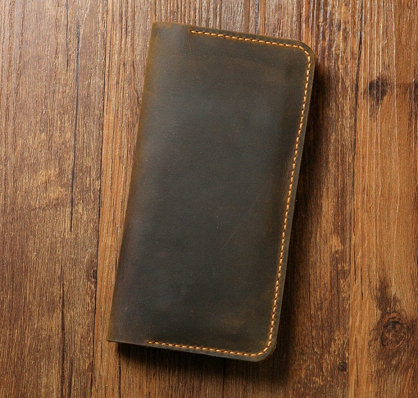 Men Women Distressed Leather long wallet