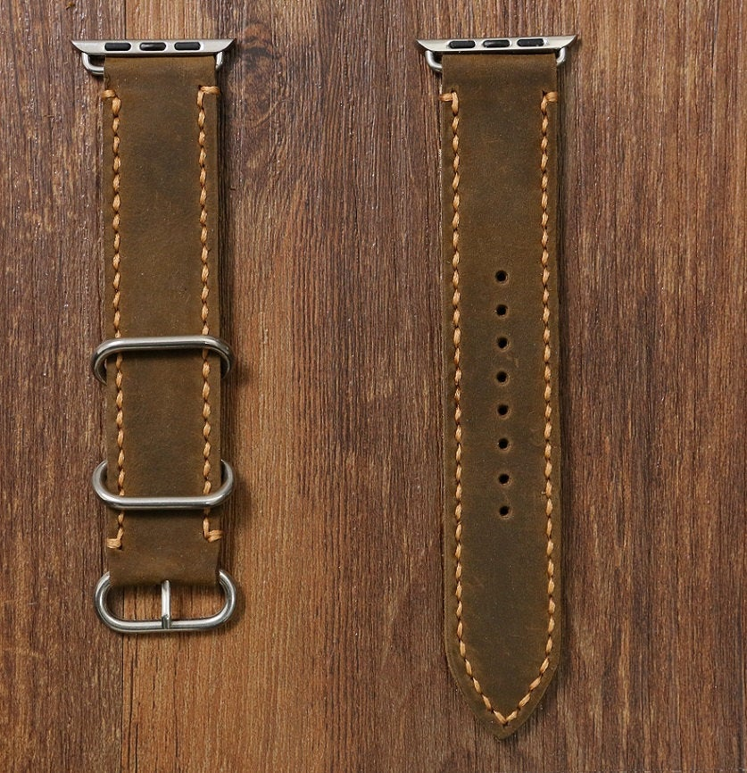 Hand stitch vintage retro distressed leather Apple Watch Band