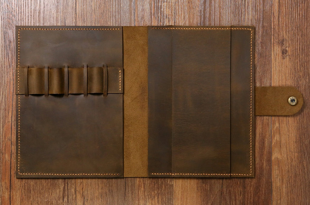 leather portfolio for A5 notebook