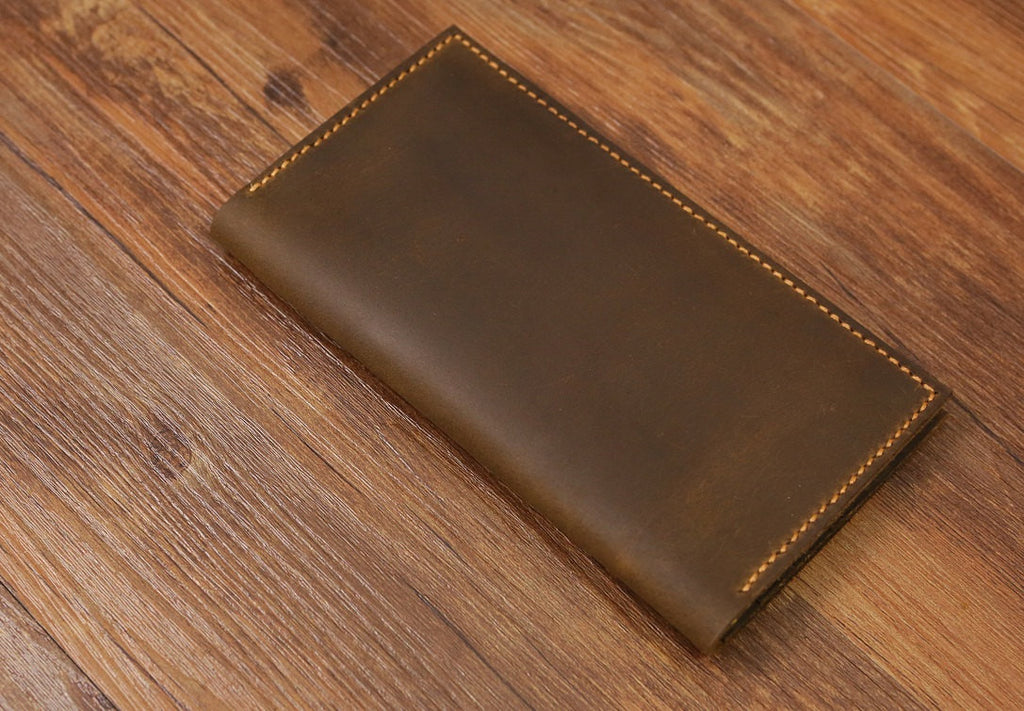 Personalized distressed leather long wallet vertical bifold wallet