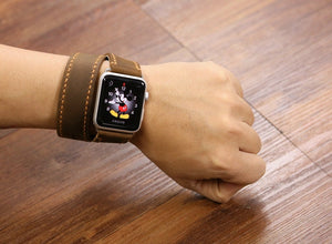 Leather bracelet long apple watch / double wrap watch band