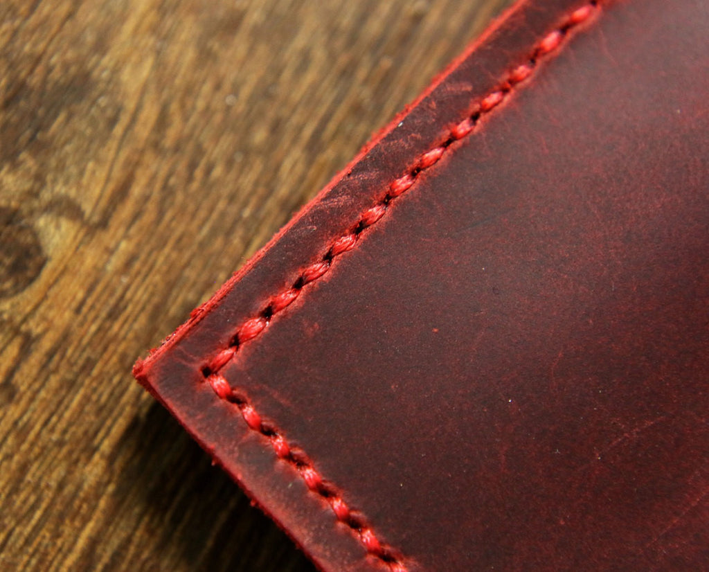 Personalized real leather burgundy turquoise A5 travel notebook cover
