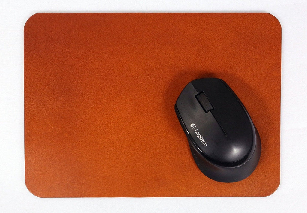 Thick vegetable tanned leather mouse pad mat
