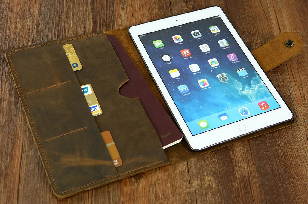 Personalized distressed leather iPad Pro case cover