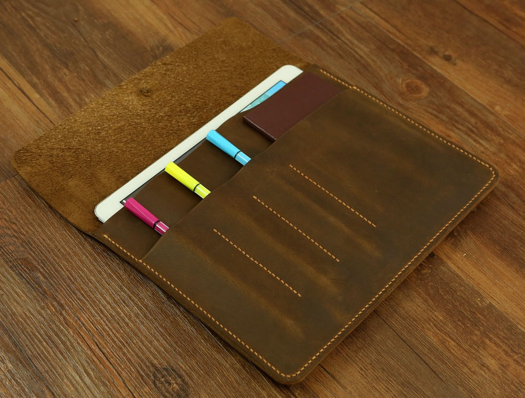Personalized Retro leather iPad Pro 9.7 case portfolio