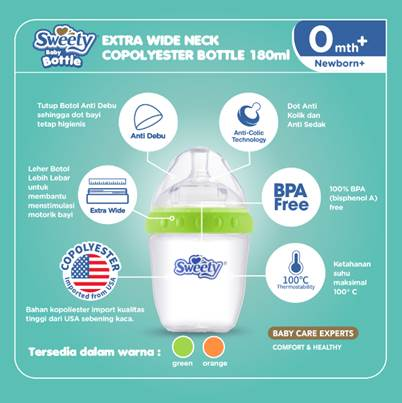Sweety Bottle Extra Wide Neck Green - 180ml