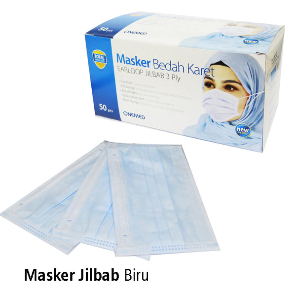 Masker Jilbab Blue OneMed box 50pcs