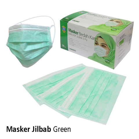 Masker Jilbab Green OneMed box 50pcs