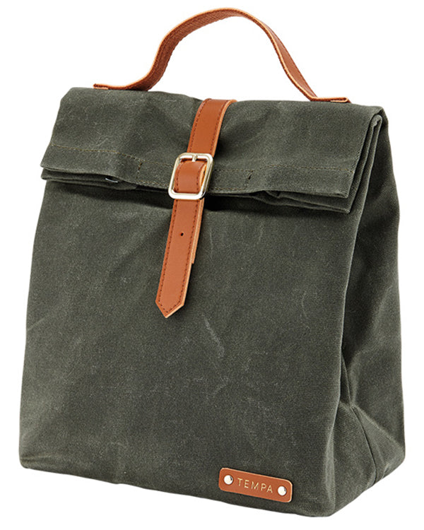 Tempa Buckle Insulated Olive Green Lunch Bag