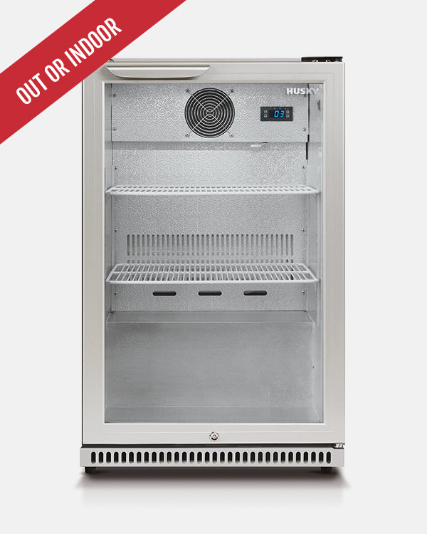 118L Single Glass Door Silver Bar Fridge