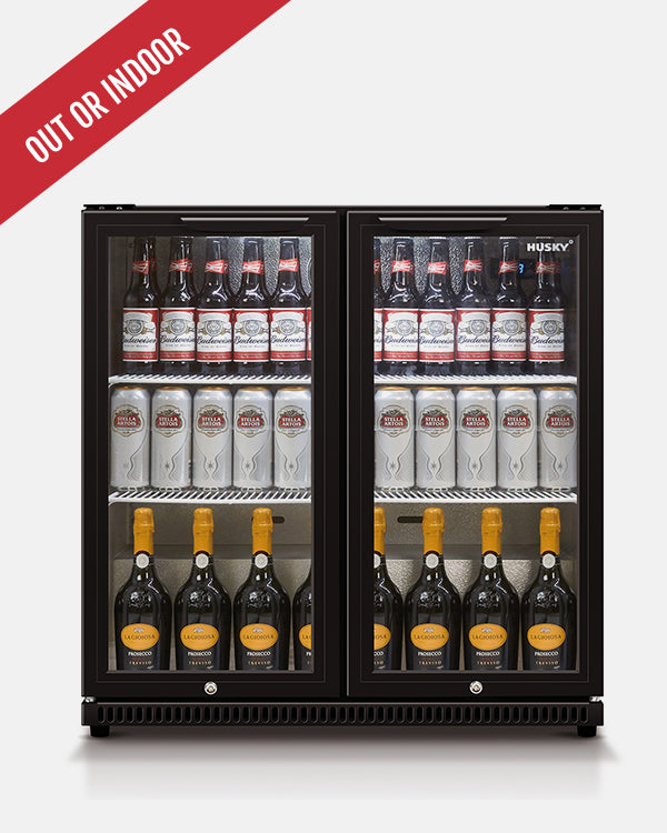 190L Double Glass Door Back Bar Fridge