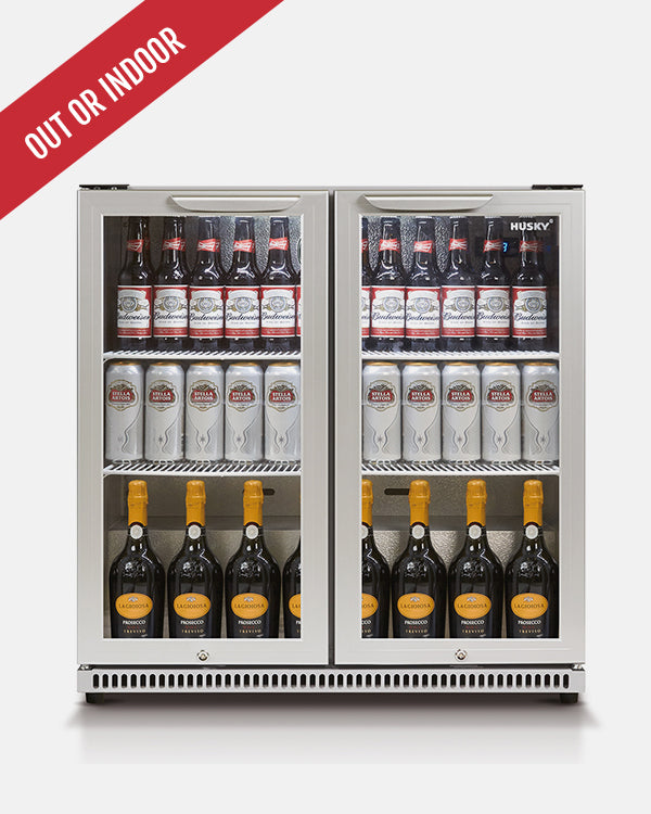 190L Double Glass Door Silver Bar Fridge