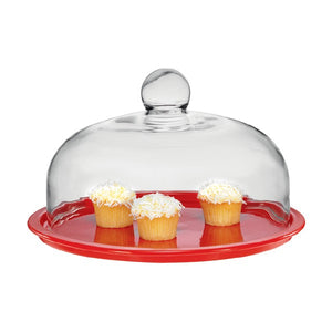 La Cuisson Cake Platter With Lid Red