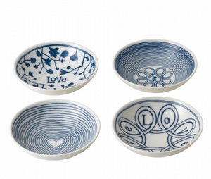 ED Ellen DeGeneres Blue Love Bowls 14cm Set of 4