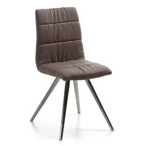 Lark2 Chair Seat Fabric Dark Brown Legs Stainless Steel Set Of Two