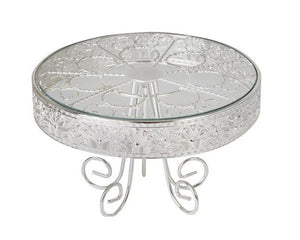 Silver Plated & Glass Footed Cake Stand