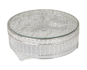 Roman Silver Plated & Glass Cake Stand