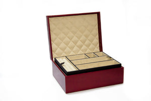 Large Leather Jewellery Box Cherry Red