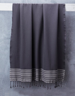 Truva Charcoal Towel With Natural Stripes