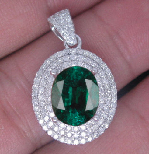 14KT SOLID GOLD 2.20 CARATS OVAL SHAPE NATURAL GREEN EMERALD & EGL CERTIFIED DIAMOND PENDANT