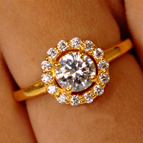 14KT SOLID GOLD 1.95 CARATS GORGEOUS ROUND SHAPE SOLITAIRE WITH ACCENTS WEDDING RING