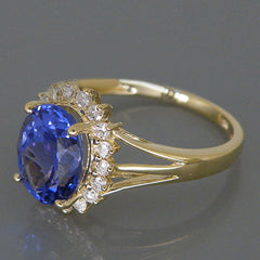 2.65 CARATS OVAL SHAPE 14KT SOLID GOLD REAL NATURAL BLUE TANZANITE & EGL CERTIFIED DIAMOND RING