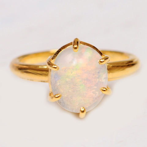 REAL 18KT SOLID GOLD OVAL SHAPE 2.45 CARATS 100% NATURAL OPAL WOMEN'S RING WITH FREE CERTIFICATE