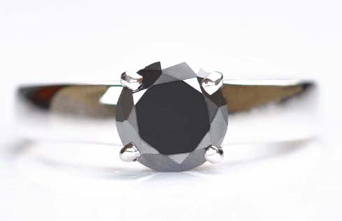 CERTIFIED 100% NATURAL BLACK DIAMOND ROUND SHAPE 1.40 CARATS 925 STERLING SILVER SOLITAIRE RING