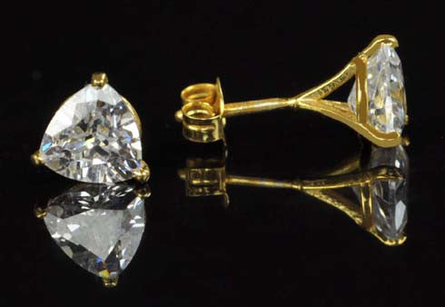 4.10 CARATS TRILLION SHAPE 14KT SOLID GOLD SOLITAIRE ENGAGEMENT STUDS