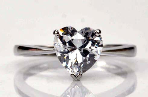 925 STERLING SILVER BEAUTIFUL HEART SHAPE 2.90 CARATS SOLITAIRE ENGAGEMENT RING
